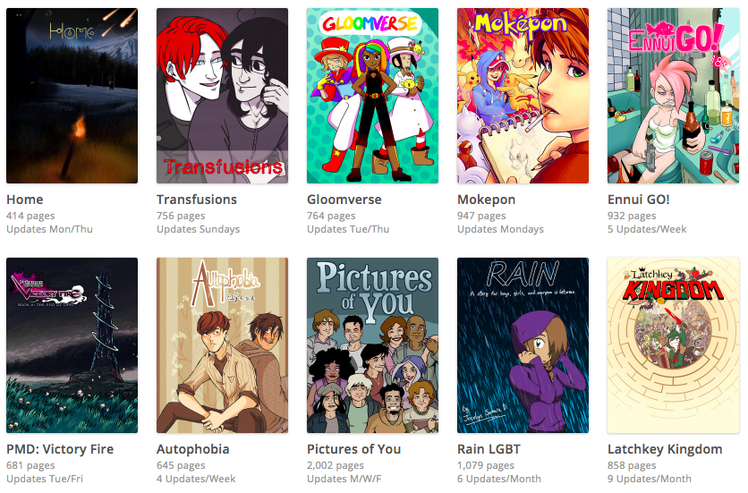 Some of the webcomics that host on Smack Jeeves.