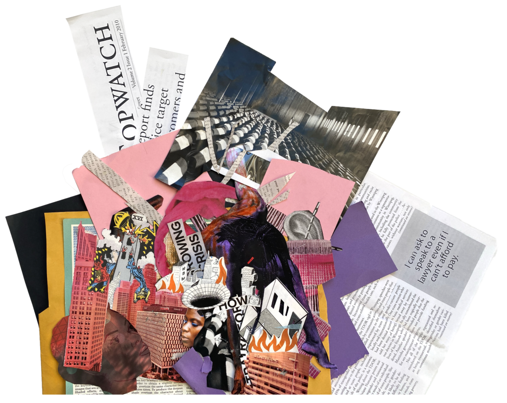 A chaotic asymmetrical collage showing scenes of urban struggle and rebirth, with references to police brutality against Black people and other histories of state violence. By Jonathan Valelly