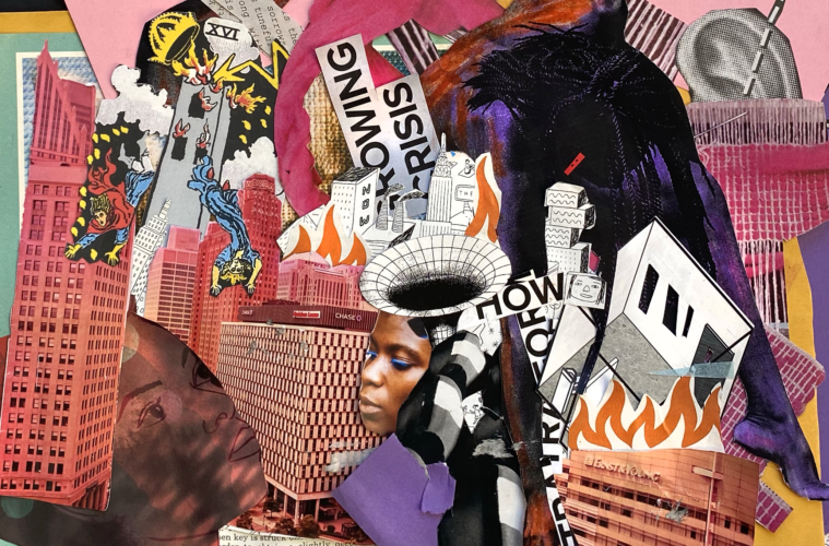 A chaotic asymmetrical Black Lives Matter zine collage showing scenes of urban struggle and rebirth, with references to police brutality against Black people and other histories of state violence. By Jonathan Valelly.