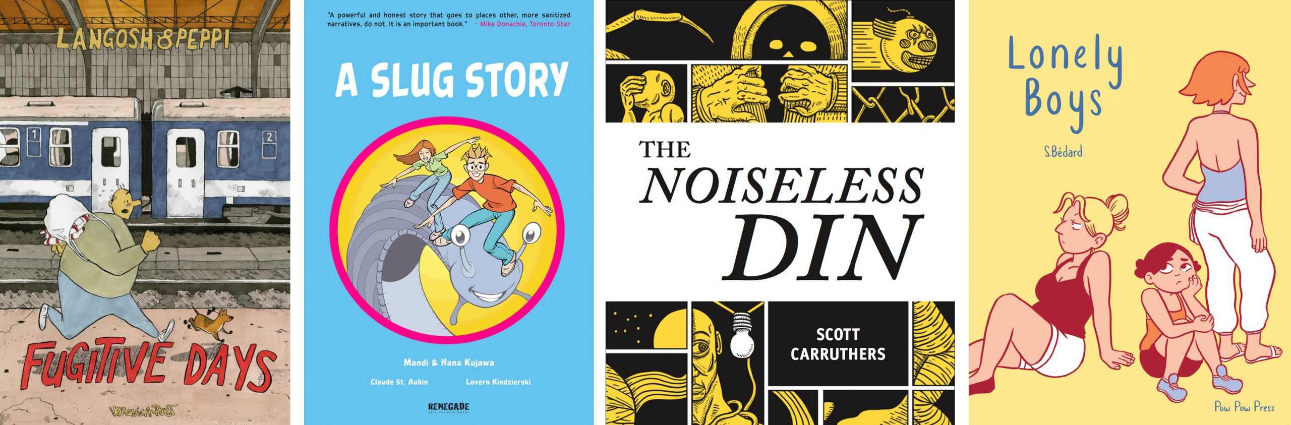 Covers of the winning books: Fugitive Days, A Slug Store, The Noiseless Din, and Lonely Boys